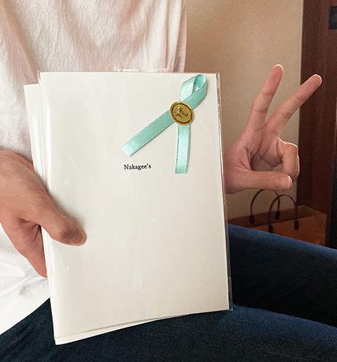 恋人へのプレゼントに作成したオリジナルノートの商品画像です。